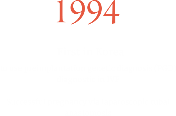 1994 First in Korea to use preimplantation genetic diagnosis (PGD) diagnostic in IVF, 