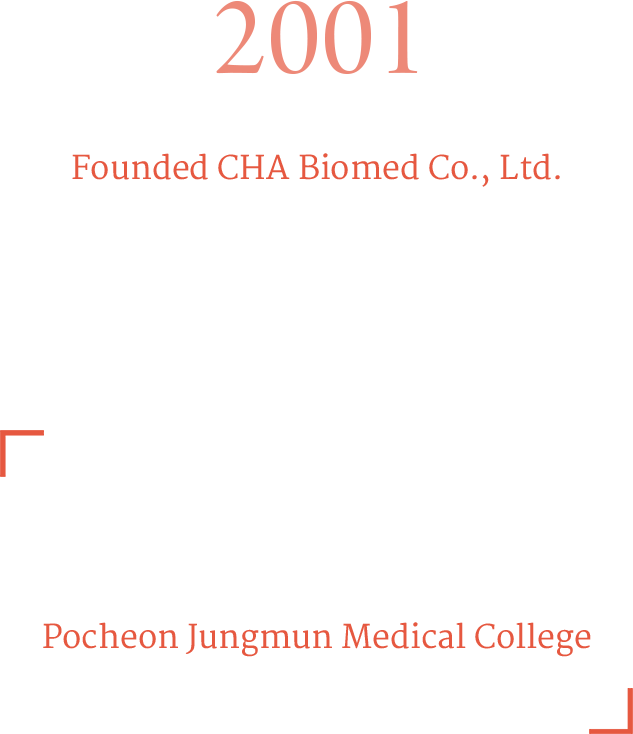2001 Founded CHA Biomed Co., Ltd. Established Department of Health Science, 