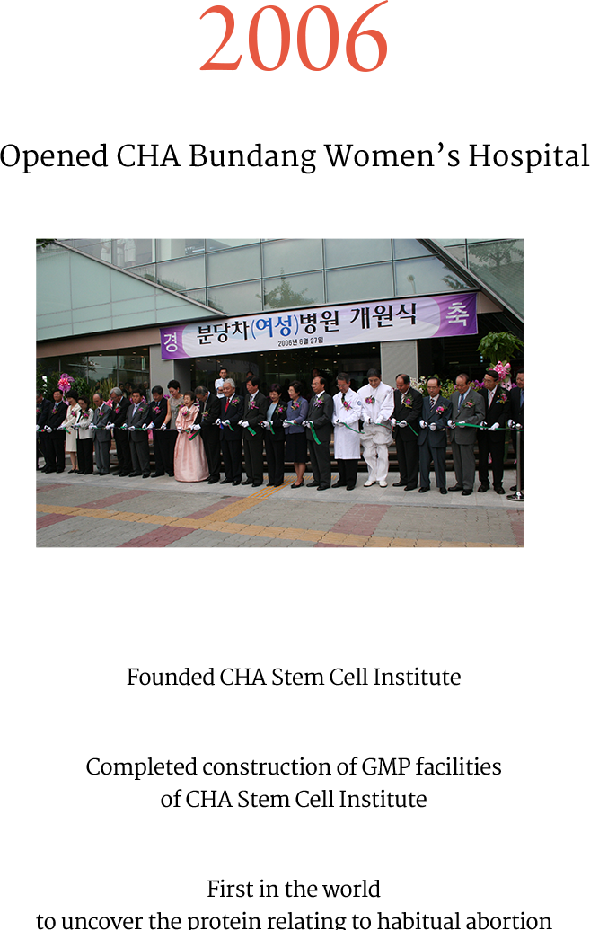 2006 Opened CHA Bundang Women's Hospital Founded CHA Stem Cell Institute Completed construction of GMP 
