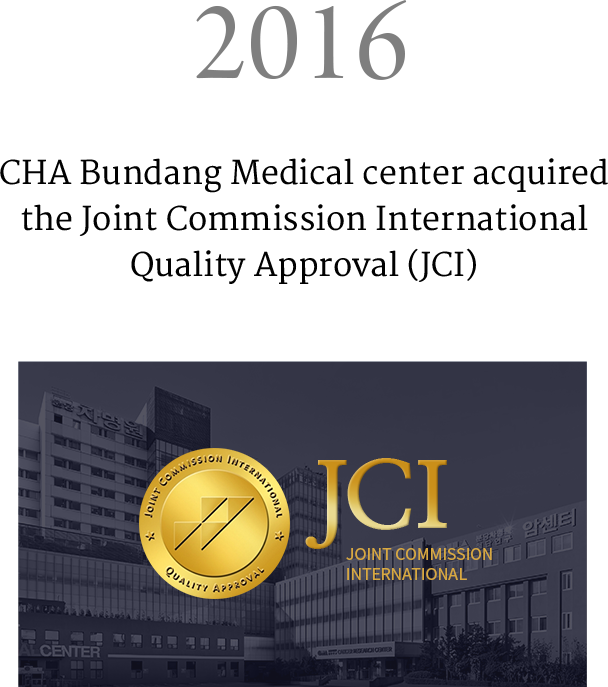 2016 CHA Bundang Medical center acquired the Joint Commission International Quality Approval (JCI) to publish a clinical paper on embryonic stem cell for retina cell treatment